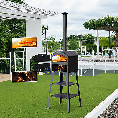 Outsunny Barbecue Grill Steel Pizza Oven Charcoal Heating Smoker Portable Cook