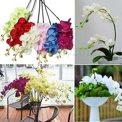 Artificial Silk Butterfly Orchid Flower Home Restaurant Wedding Decor Craft UK