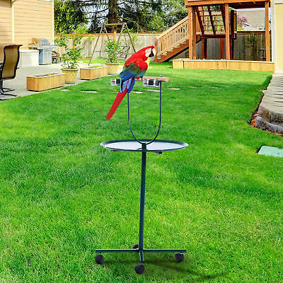 """PawHut 48"""" Parrot Pet Bird Perch T-Stand W/ Stainless Steel Tray & Bowls"""