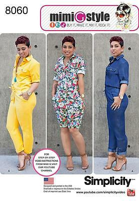 Simplicity Sewing Pattern Misses' Jumpsuit In 2 Lengths   Size 8 - 24 8060