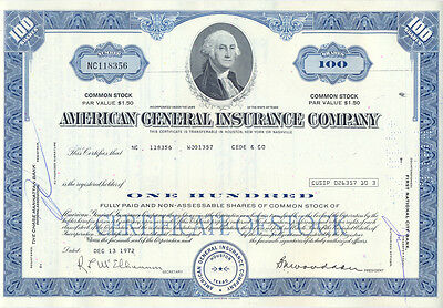 USA American General Insurance Company alte Aktie 1972  George von Washington
