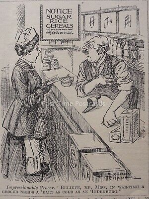 WW1 1917 April 4th WAR TIME FOOD RATIONING - IMPRESSIONABLE GROCER Punch Cartoon