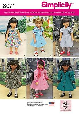 """Simplicity Sewing Pattern Vintage Inspired 18"""" Dolls Clothes   8071"""