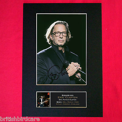 ERIC CLAPTON Autograph Mounted Photo REPRO QUALITY PRINT A4 328