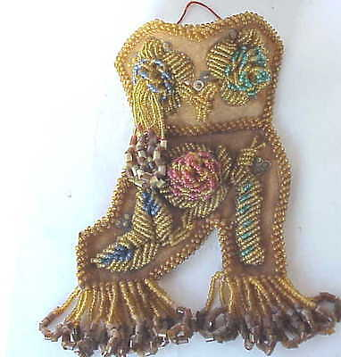 Antique Indian Beaded Beads High Heel Shoe Wall Pocket