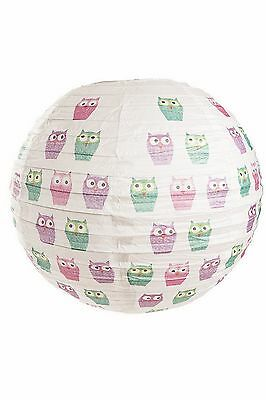 Owl Design Ribbed Paper Globe Lamp Shade / Light Shade