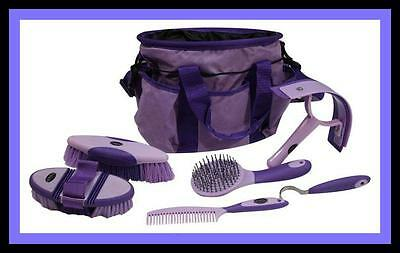 Horse Mini Pony Grooming Kit w/Soft Grip 6p Carry Bag-Showman Purple Gift Trophy