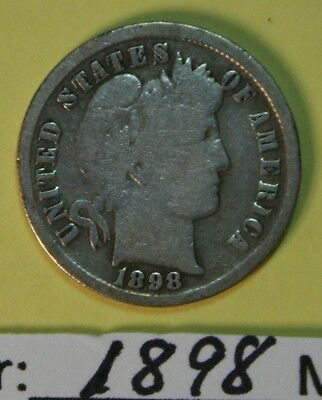 1898  US  Barber Dime  in  Good Condition  See Photos  Price per Each Coin