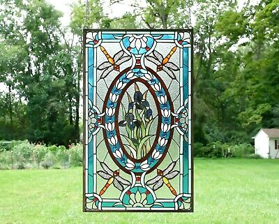 """Handcrafted stained glass window panel Dragonfly & Iris Flowers,20.5"""" x 34.75"""""""