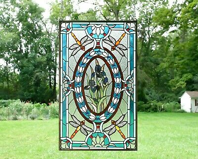 "Tiffany Style stained glass window panel Dragonfly & Iris Flowers,20.5"" x 34.75"""