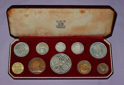 1953 EiiR CORONATION PROOF SET COINS - Crown to Farthing Cased