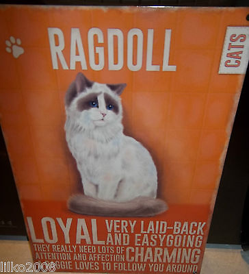 "Ragdoll Cat 12""x 8"" Medium Metal Sign 30X20Cm With Character Description"