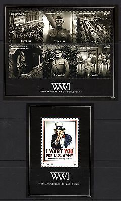 Tuvalu 2014 100th Anniversary WWI Sheetlet 6 + M/S MNH