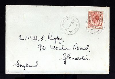 8072-BAHAMAS-OLD COVER NASSAU to GLOUCESTER (england) 1936.WWII.BRITISH.