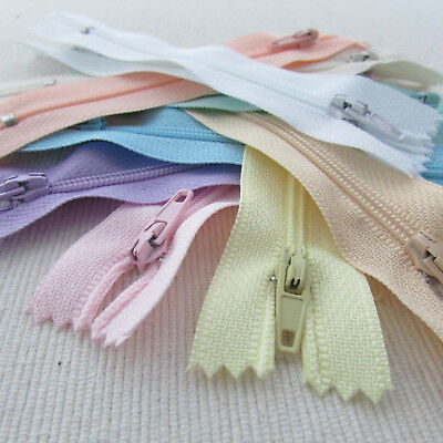 10 x Nylon No.3 autolock zips - PASTEL COLOUR ASSORTMENT -SIZE/LENGTH CHOICE