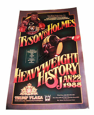 Iron Mike Tyson & Larry Holmes Signed 24X15 Poster W/proof