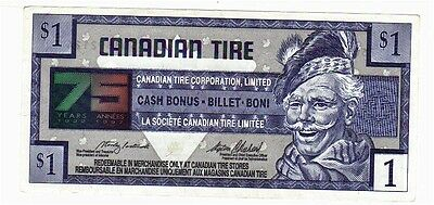 1996 $1.00 CTC CANADIAN TIRE MONEY NOTE coupon 75 years of service 7503392124