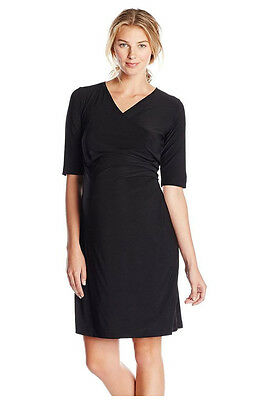 Japanese Weekend Maternity Nursing Luxe Jersey, Side Sweep Career Dress S 6 8