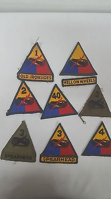 #19 Lot of 8 Vintage Armored Division US Military Patches