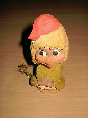 """Vintage Hand Carved 6"""" Tall Henning Figurine Norway Gnome Troll Girl Figurine"""