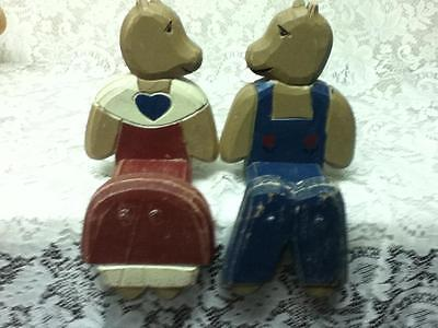 Vintage Pair of 11in Carved and Painted, Wooden Bears Mantel or Wall Hanger