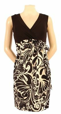 New JAPANESE WEEKEND MATERNITY Colorblock Art Deco Swirl Surplice Cotton Dress