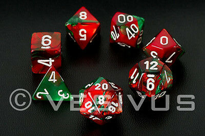 DICE Chessex Gemini RED/GREEN 7-Dice Set Marble Shiny d20 d6 Christmas OOP 26431