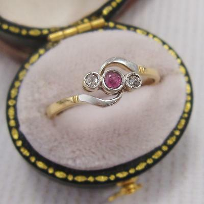 VINTAGE 1940's RUBY and DIAMOND TRILOGY TWIST RING in 18ct PLATINUM size O