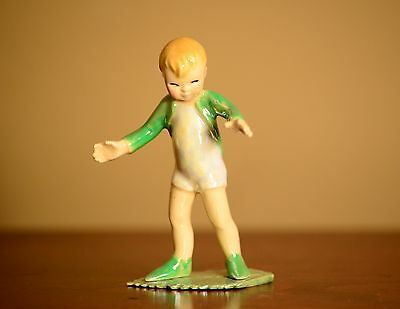 RETIRED Hagen-Renaker Specialty #3311 (Boy) PIXIE ON LEAF - Ceramic Figurine