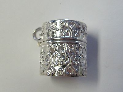 Ornate Sterling Silver Round Thimble Holder/pill  Case - New