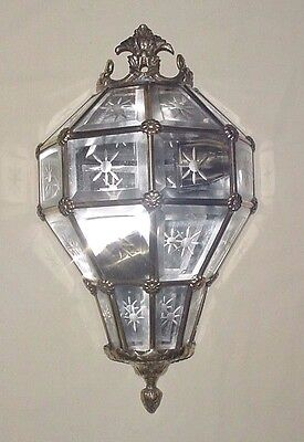 "Old Bronze Brass Sixteen Crystal Cut Panels Versailles Lantern Wall Sconce 13"" • CAD $365.39"