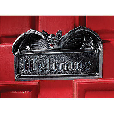 Fiery Eyed Vampire Bat Gothic Welcome Sign Wall Sculpture