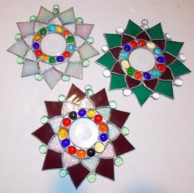 Lot of three - Leaded Stained Glass  Sun Catcher  Flower Hanging  #8