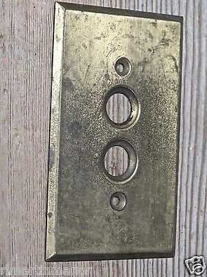 old single Push Button Switch cover Plate vintage solid brass color .040 gauge