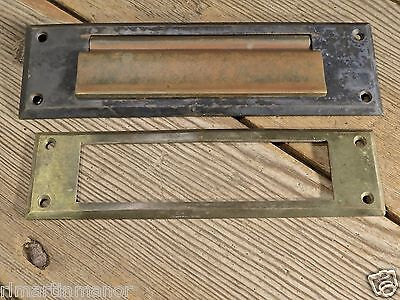 Letter Slot solid brass with interior trim old antique vintage dark bronze color
