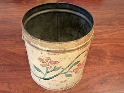 Tin measure rustic pail lard can hand painted old antique folk art vintage 1900