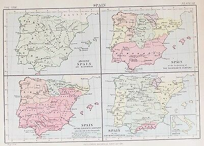 OLD ANTIQUE MAP SPAIN ANCIENT HISPANIA by W & AK JOHNSTON PRINTED COLOUR c1880's