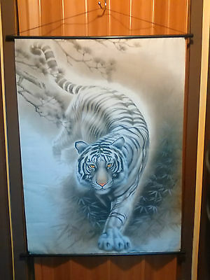 Nice Asian Chinese Scroll Painting Tiger Wall Art Feng Shui Home Decor