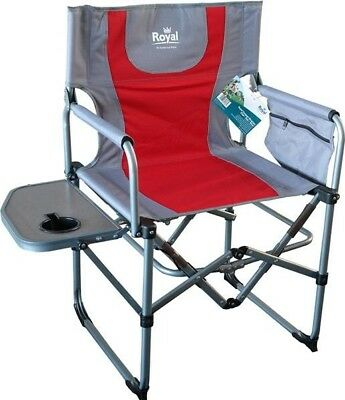Royal Compact Directors Folding Chair Side Table | Camping Caravan | Red Silver