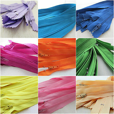 """6"""", 8"""" & 10"""" No3 nylon autolock zips x 10 for crafts & sewing - colour choice"""