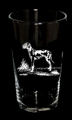 DOG GIFT Boxed Pint Beer Glass HARLEQUIN GREAT DANE design  BNIB