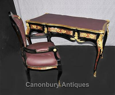 French Boulle Desk and Chair Set Writing Table Bureau Inlay Furniture