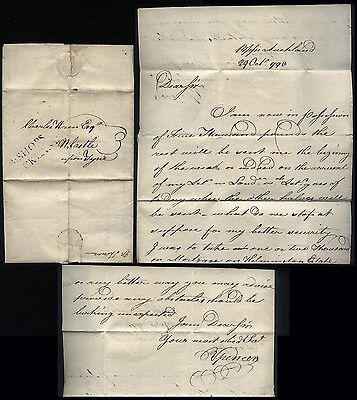 1793 BISHOPS AUCKLAND p/m letter Mr Spencer to Mr Wren of NEWCASTLE