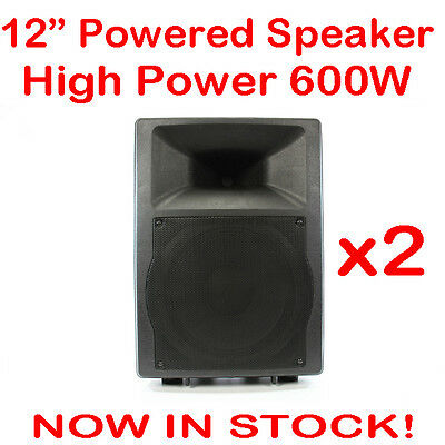 2x MaxAV 12 Inch Powered Audio Speaker PA Cabinet Box Active Stage Monitor 12""
