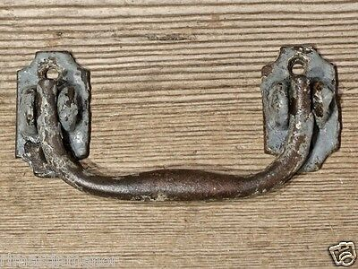 "old drop handle Drawer Pull vintage shabby gray paint 4 3/8"" cast iron furniture"