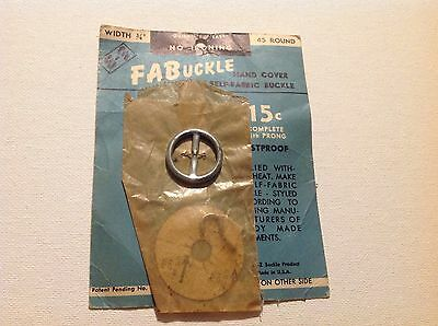 Vintage New On Card E-Z Fabuckle Hand Cover Self Fabric Buckle
