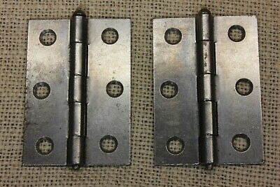 "2 Cabinet Door Hinges steel 1 3/8 x 2 3/8"" New Old Stock STANLEY screws included"