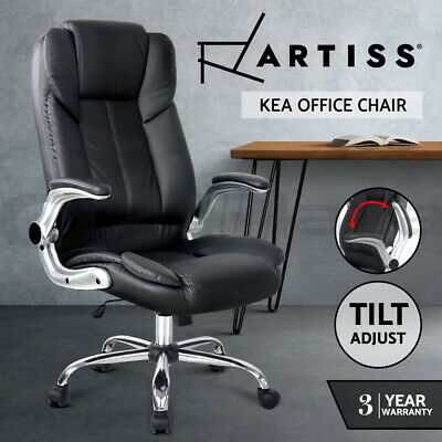 New Executive Premium Office Chair Faux Leather Retractable Armrests Seat Black