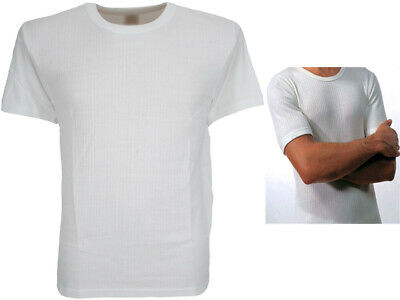 Mens White Thermal Vest Ribbed Short Sleeve Winter Warm Brushed Cotton M, L, Xl