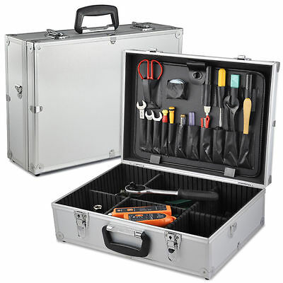 New Electricians Plumbers Lockable Aluminium Toolbox Tool Organiser Storage Box